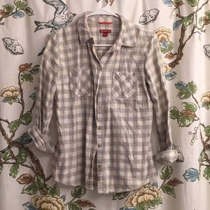White and Grey Checkered button up